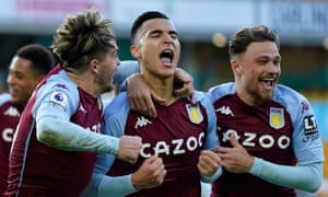 Villa's Anwar El Ghazi celebrates after scoring the winner at Molineux.