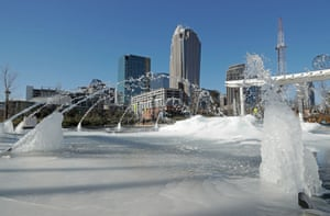 Charlotte, NCWater shoots from a frozen fountain in the downtown area. Temperatures plummeted overnight to 2 degrees in the north Georgia mountains, 14 in Atlanta and 26 as far south as New Orleans as the Gulf Coast felt more like Green Bay.