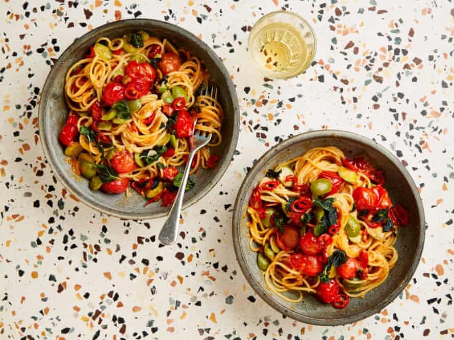 Yotam Ottolenghi's 15 minute miso, tomato and oregano pasta.