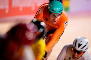 Netherlands' Jan Willem Van Schip competes in the men's omnium
