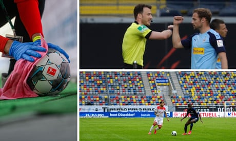 'It is very odd': empty stadiums as Bundesliga returns  – video report