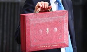 Philip Hammond holds up his budget box