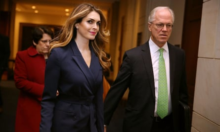 White House communications director Hope Hicks arrives to give evidence to the House intelligence committee.