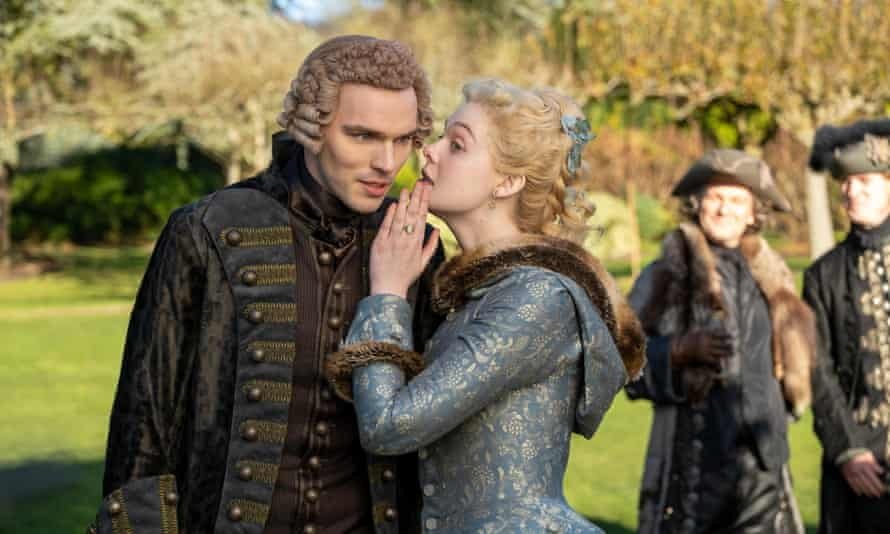 Hoult with Elle Fanning in The Great