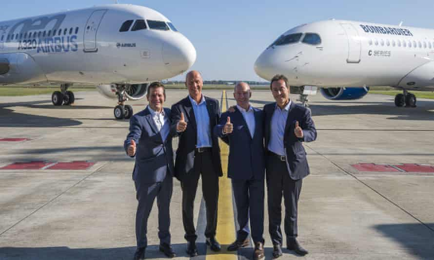 From left, Pierre Beaudoin, Bombardier chairman, Tom Enders, Airbus chief executive, Alain Bellemare, Bombardier president and Fabrice Brégier, Airbus chief operating officer, celebrate the takeover deal.