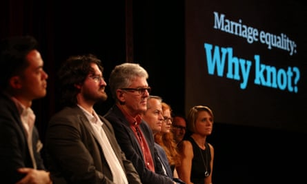 The panel at the Guardian Live Australian Marriage Equality event on Thursday.