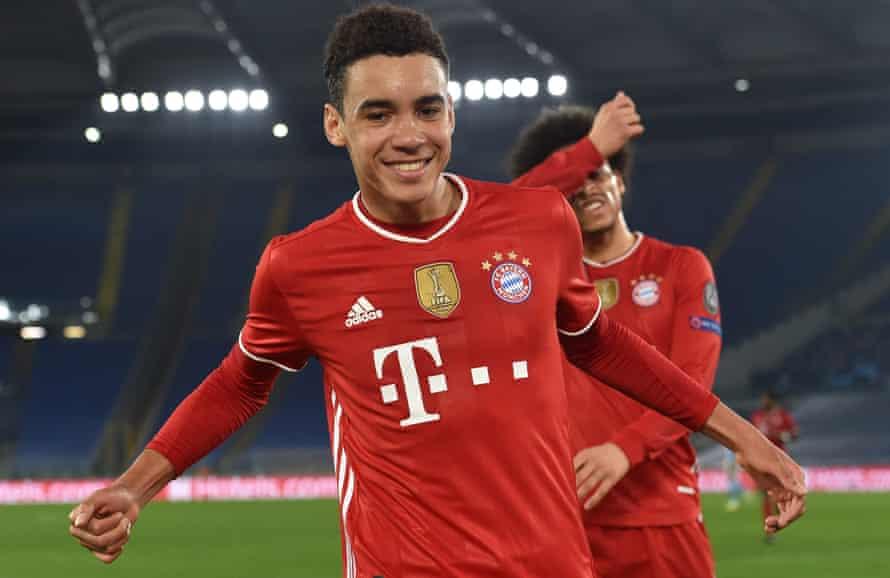 Jamal Musiala celebrates after scoring Bayern's second against Lazio