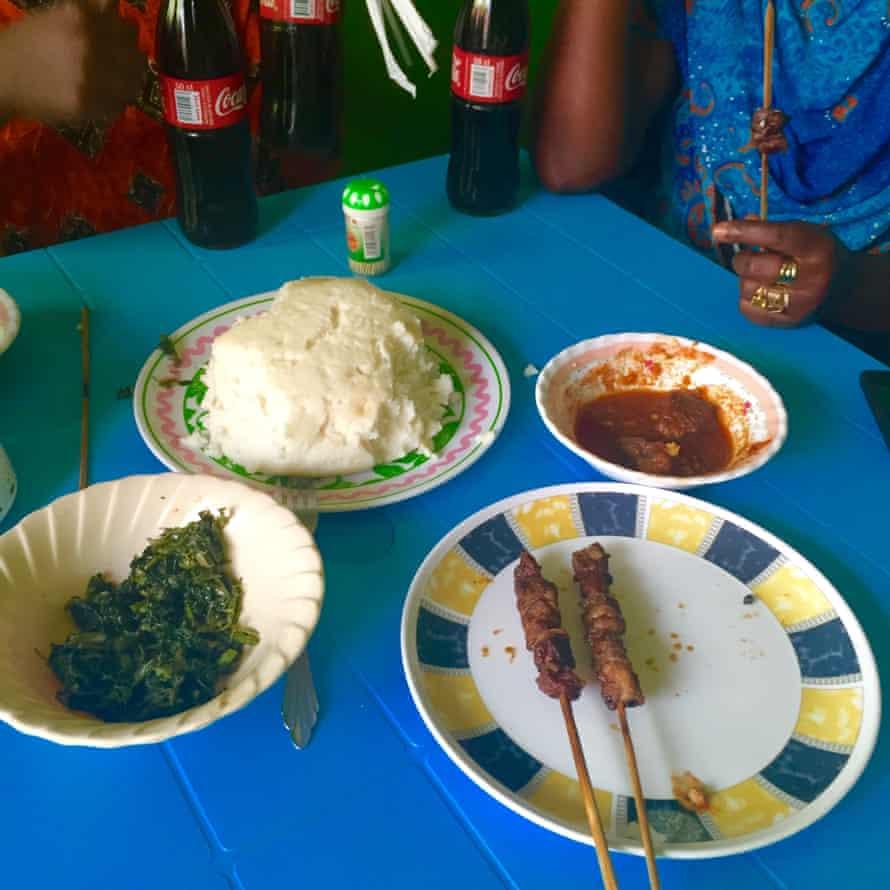 Ugali, beef and fresh vegetables