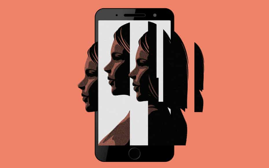 a fractured image of a face and a smartphone screen