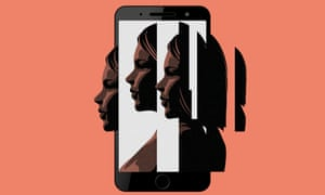 illustration of a smartphone screen with fractured faces