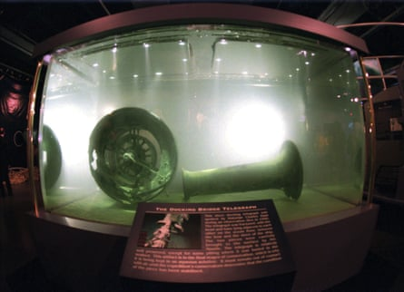 The docking bridge telegraph recovered from the wreckage of the Titanic is displayed at the Nauticus National Maritime Center in Norfolk, Virginia.