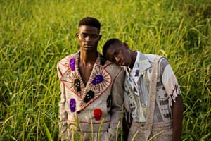 Kelvin and Smith in clothing from the design label Maxivive