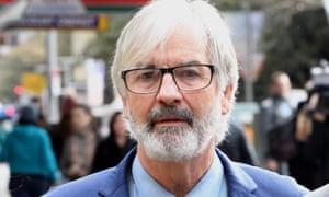 John Jarratt arrives at a Sydney court where he was found not guilty of rape.