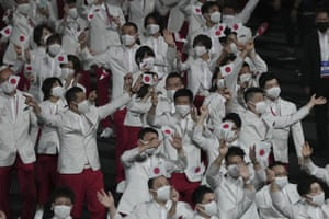 Athletes from Japan enter the stadium.