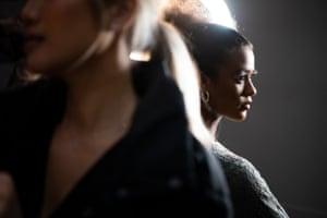 Model Zarina Copeland prepares for the show