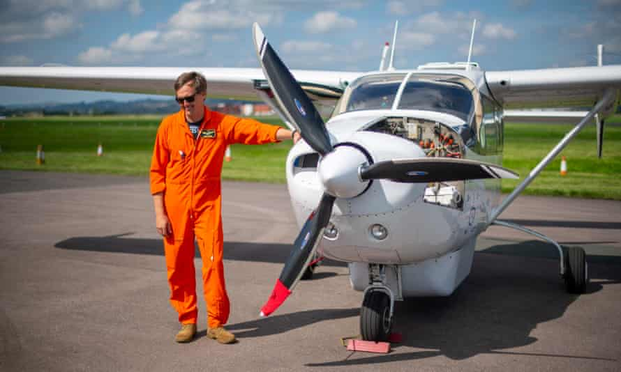 The debut flight of the hybrid electric Cessna Sky Master, from Exeter Airport, Devon.