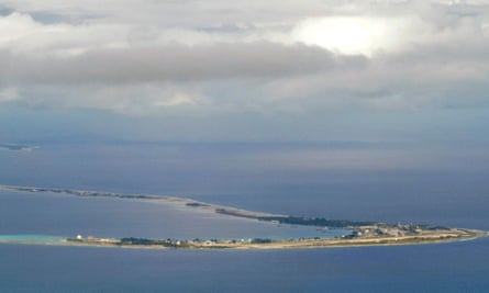 Aerial view of Kwajalein Atoll in the Marshall Islands.EGFJ5G Aerial view of Kwajalein Atoll in the Marshall Islands.