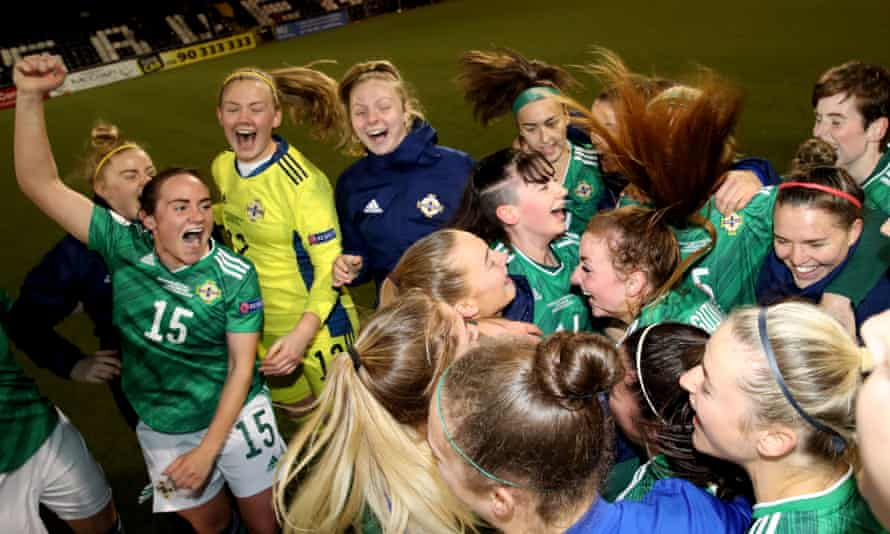 Northern Ireland players celebrate after their 5-1 win over the Faroes at Seaview.