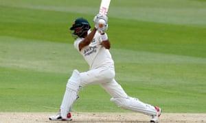 Nottinghamshire's young batsman Haseeb Hameed hits a six during a pre-season friendly against Warwickshire at Edgbaston.