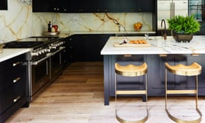 Marble surfaces in the kitchen.