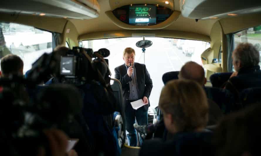 Inside coach, Roman Borisovich with microphone