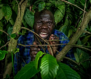 Daouda Bisaso, props man and actor, plays the role of a husband whose wife is eaten by cannibals.