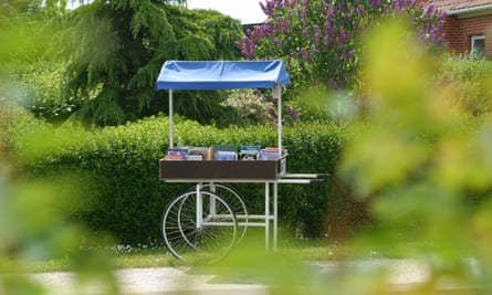 Covered book wagon by the roadside in Torup, Denmark
