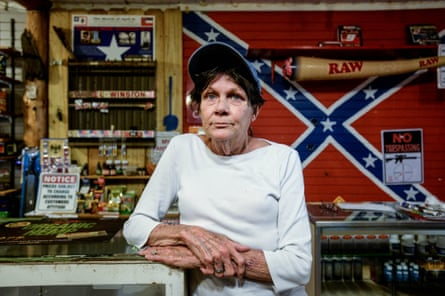 Roslyn Stuart is an employee at Flag Heads in Seminary, Mississippi. The store specializes in Confederate flag-themed merchandise.