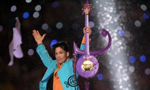 Prince performs at the Super Bowl halftime show in Miami, 2007.