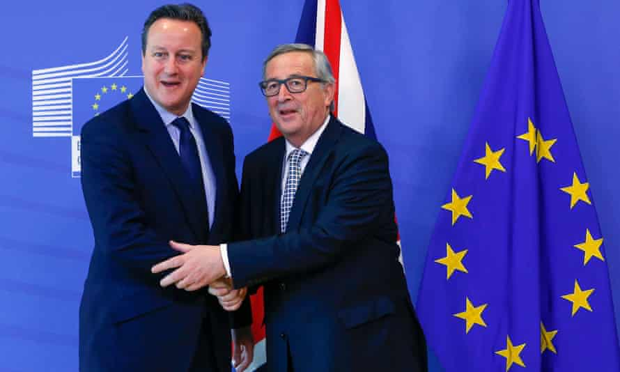 David Cameron meets the then European Commission president, Jean-Claude Juncker, in 2016