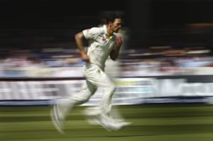 Mitchell Johnson charges in as the Australians smell victory after breaking that partnership.