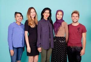 Scott Trust Bursary Scheme winners 2016. Photographed at the Guardian (l-r) Lilufa Uddin, Grace Holliday, Sundus Saeed, Hanna Yusuf, Harrison Jones