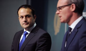 Irish Prime Minister, and Taoiseach, Leo Varadkar and his Foreign Minister Simon Coveney during a press conference in Dublin
