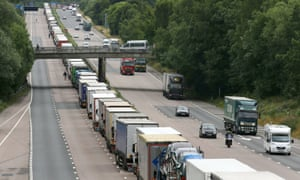 Lorries parked on the M20 in Kent