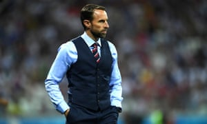 Southgate in snug waistcoat and red, white and blue tie.