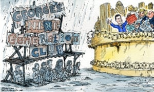 Cartoon of young people under a ramshackle shelter outside a city while Osborne entertains older people within