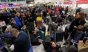 Passengers at Gatwick after drones forced the closure of the airport, 20 December 2018.