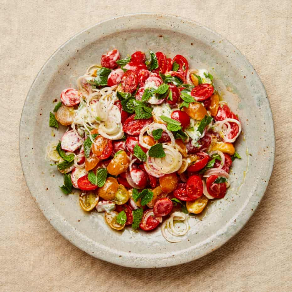 Yotam Ottolenghi's tomato with lime and cardamom yoghurt.