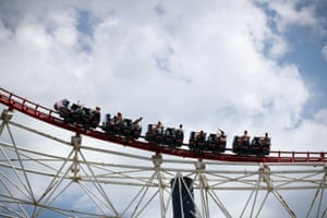 People are pictured on a rollercoaster at Blackpool Pleasure Beach