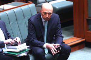 Peter Dutton during a division on Thursday where the opposition tried to have him referred to the high court for a breach of section 44 of the constitution