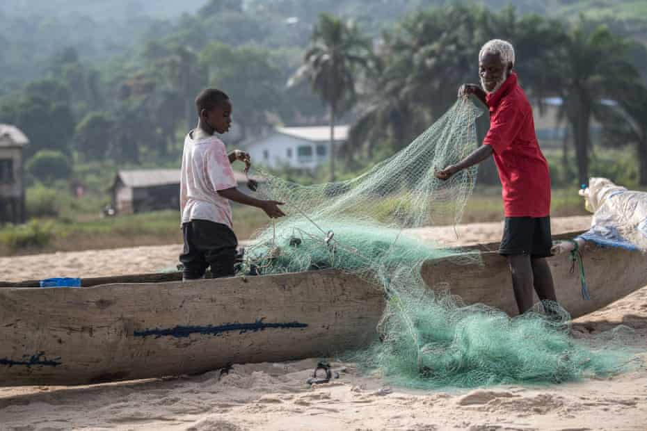 Fishing families in Robertsport, a town on the Cape Mount peninsula, near the Sierra Leone border