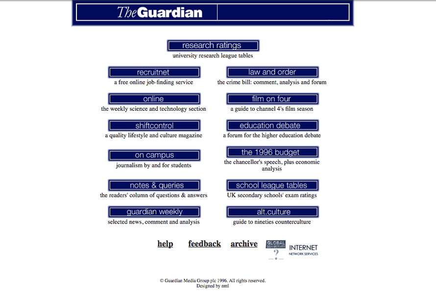 The Guardian online in 1996