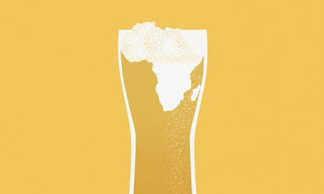 glass of beer with africa map in the foam