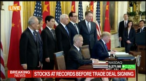 The signing of the US-China trade deal