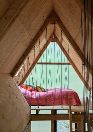 Bedroom of an eco-designed mobile home