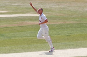 Jamie Porter of Essex celebrates taking the wicket of Ryan Patel.