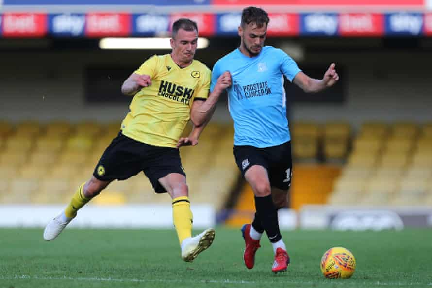 Brandon Goodship of Southend (R) is challenged by Millwall's Jed Wallace during the pre-season friendly at Roots Hall on 24 July 2019.