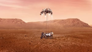 Nasa Perseverance rover, Mars. An artist's impression issued by Nasa of the Perseverance rover landing safely on Mars. The rover is due to land on the red planet on Thursday to begin its search for traces of life