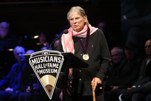 Don Everly speaks during the Musicians' Hall of Fame induction ceremony, 2019