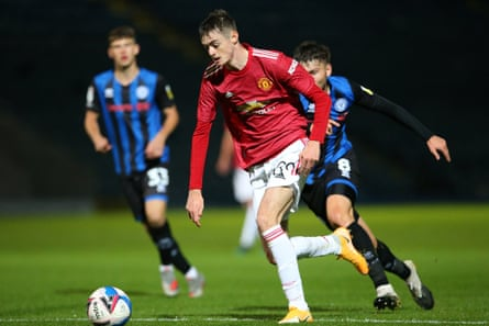 Joe Hugill playing for Manchester United's under-21s against Rochdale in the EFL Trophy last month.